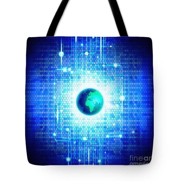 globe with technology background Tote Bag by Setsiri Silapasuwanchai