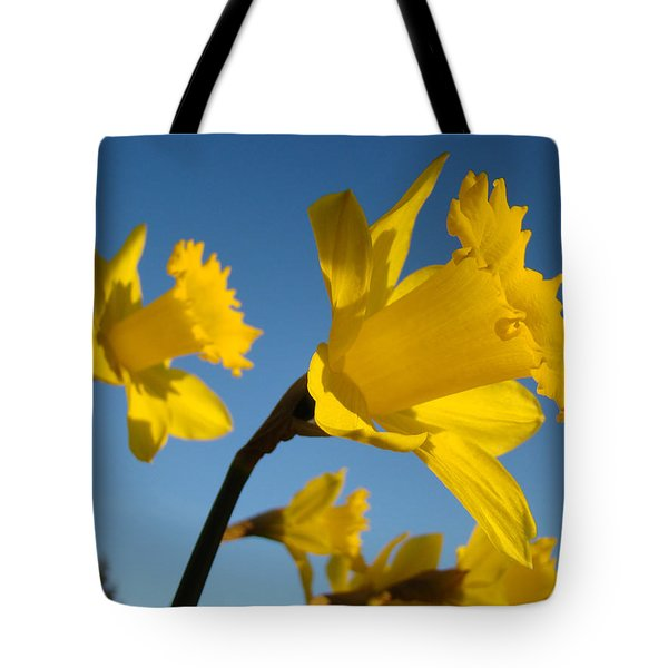 Glowing Yellow Daffodil Flowers art prints Spring Tote Bag by Baslee Troutman Fine Art Photography