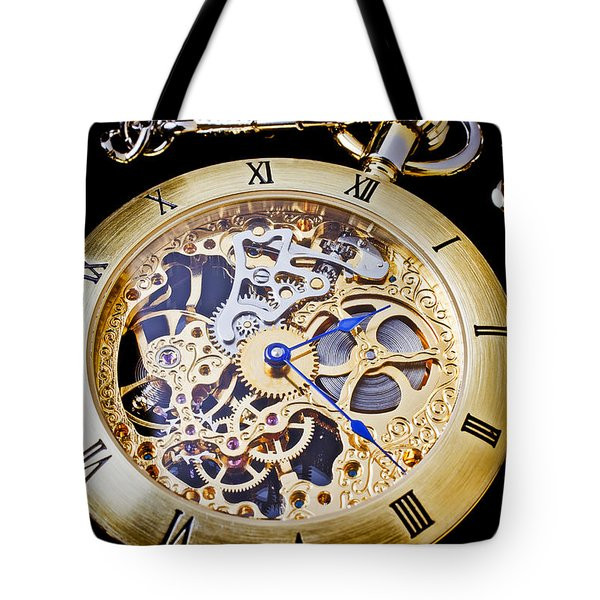 Gold Pocket Watch Tote Bag by Garry Gay