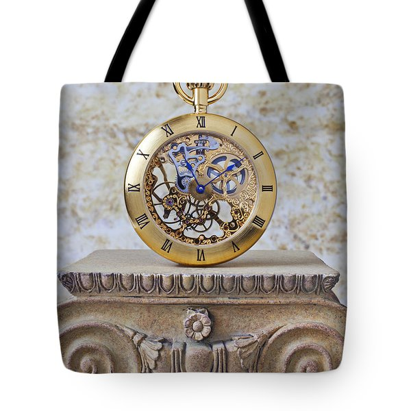 Gold Skeleton Pocket Watch Tote Bag by Garry Gay