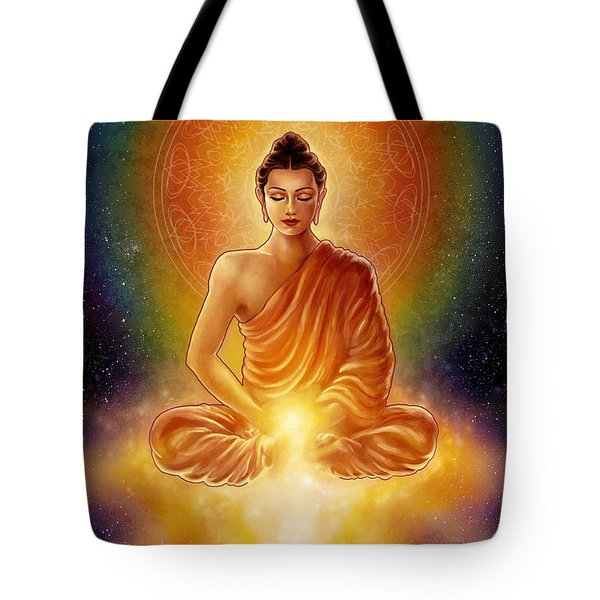 Golden Buddha Blessings Tote Bag by Caroline Jamhour