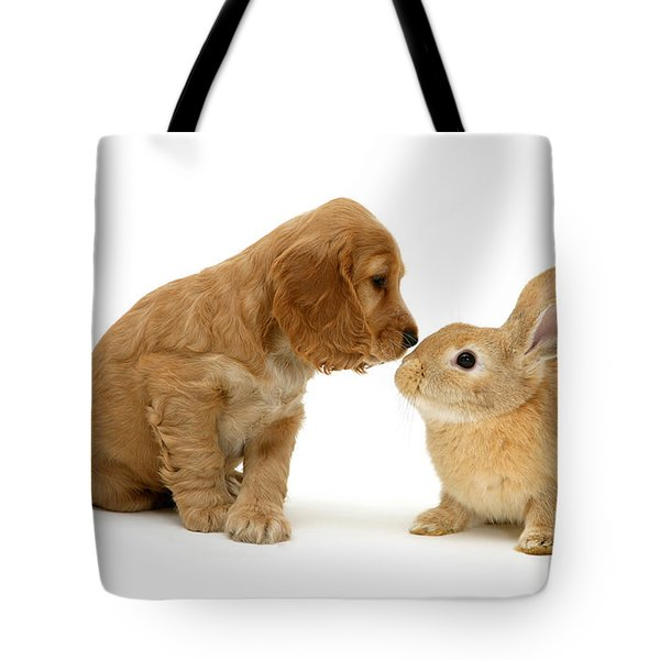 Golden Cocker Spaniel And Rabbit Tote Bag by Jane Burton