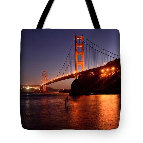 Golden Gate Bridge At Night 2 Tote Bag by Bob Christopher