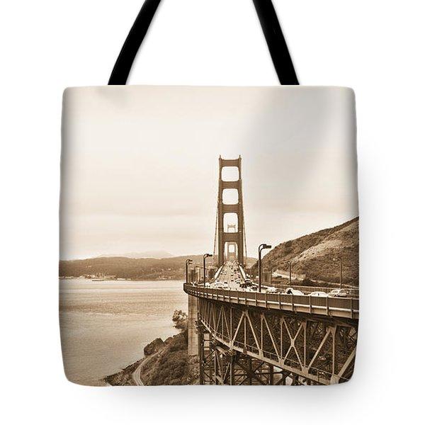 Golden Gate Bridge in Sepia Tote Bag by Betty LaRue