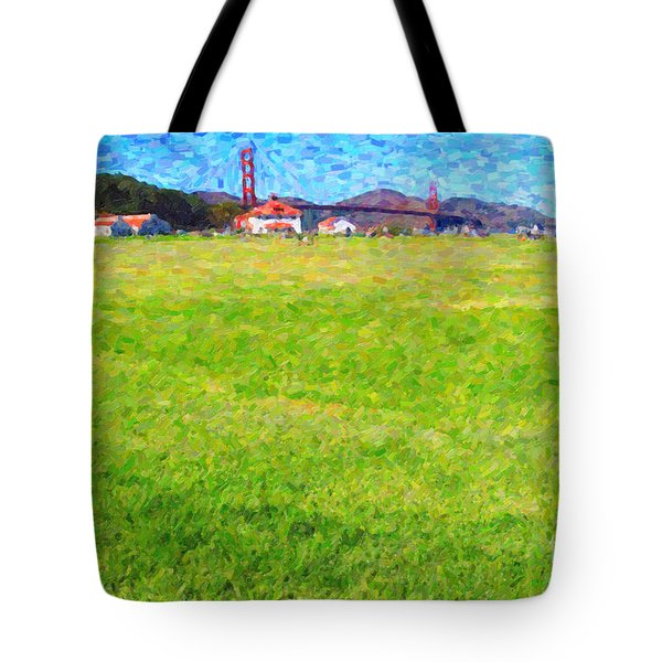 Golden Gate Bridge Viewed From Crissy Fields Tote Bag by Wingsdomain Art and Photography