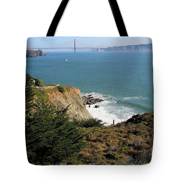 Golden Gate Bridge Viewed From The Marin Headlands Tote Bag by Wingsdomain Art and Photography