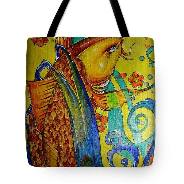 Golden Koi Tote Bag by Sandro Ramani