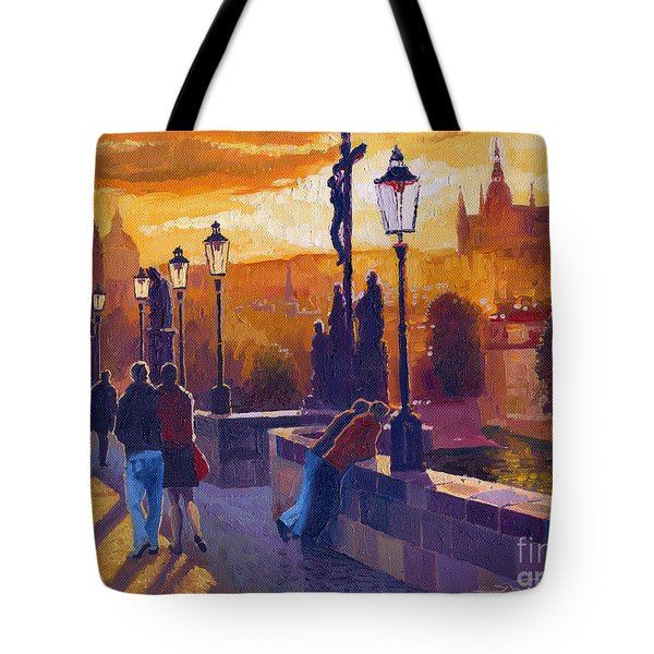 Golden Prague Charles Bridge Sunset Tote Bag by Yuriy  Shevchuk