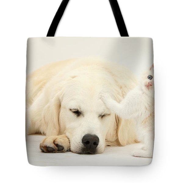 Golden Retriever With Two Kittens Tote Bag by Mark Taylor