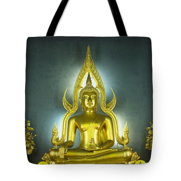 Golden Sitting Buddha Tote Bag by Gloria and Richard Maschmeyer
