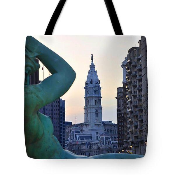 Good Morning Philadelphia Tote Bag by Simon Wolter