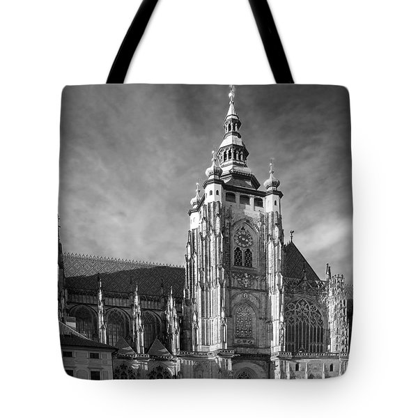 Gothic Saint Vitus Cathedral In Prague Tote Bag by Christine Till