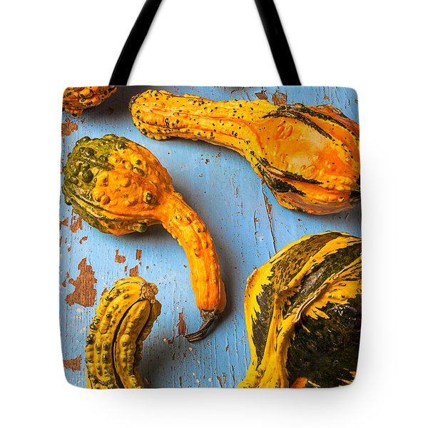 Gourds On Wooden Blue Board Tote Bag by Garry Gay
