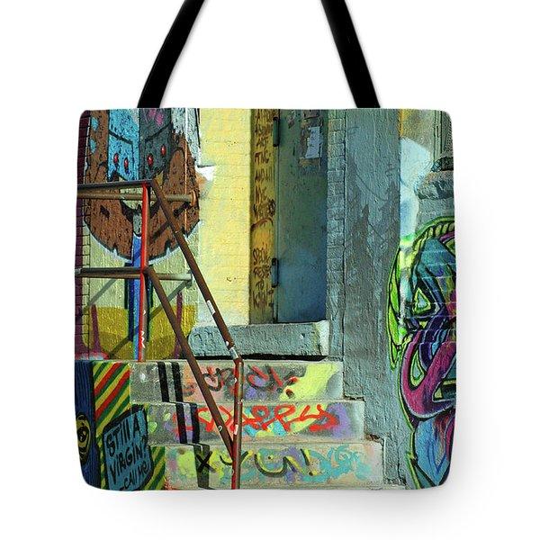 Graffiti Steps Wall Art Tote Bag by adSpice Studios