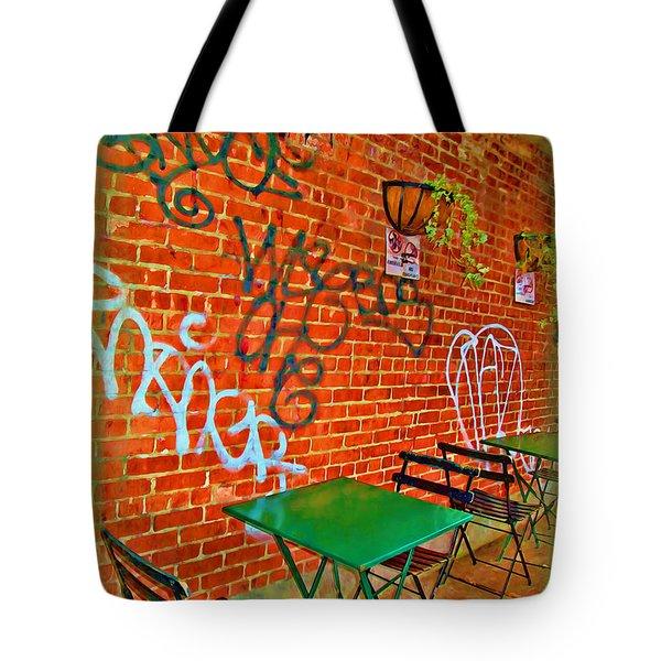 Grafitti Dining Tote Bag by Joan  Minchak
