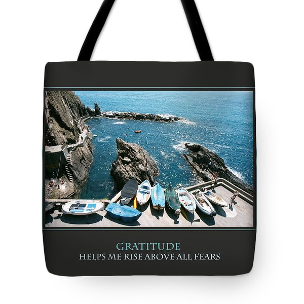 Gratitude Helps Me Rise Above All Fears Tote Bag by Donna Corless