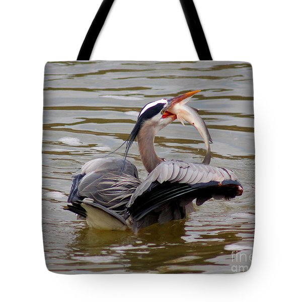 Great Blue With A Drum Tote Bag by Robert Frederick