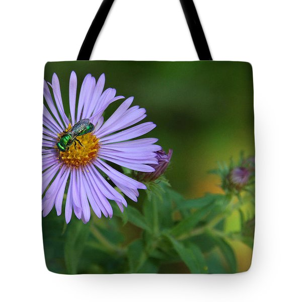 Green And Purple Tote Bag by Doris Potter