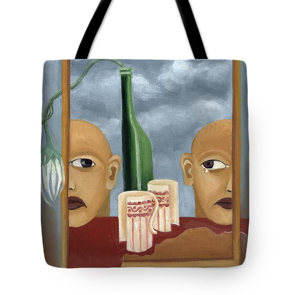 Green Bottle Agony Surrealistic Artwork With Crying Heads Cut Cups Flowing Red Wine Or Blood Frame   Tote Bag by Rachel Hershkovitz