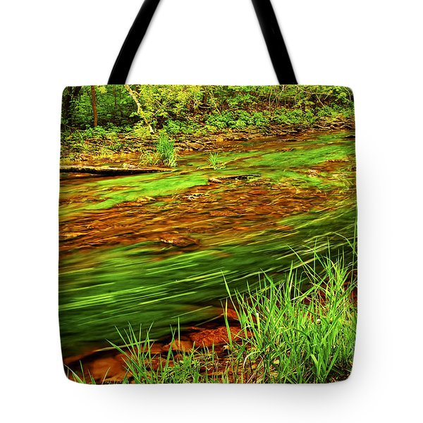 Green forest river Tote Bag by Elena Elisseeva