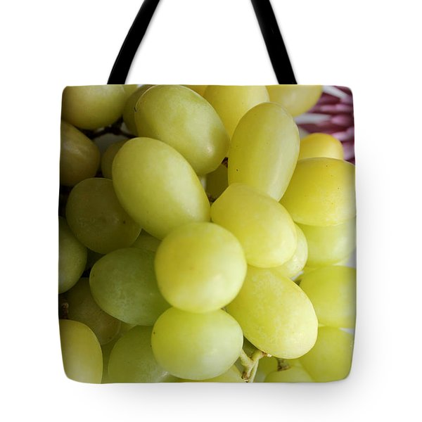 Green Grapes And Purple Mum Tote Bag by Barbara Griffin