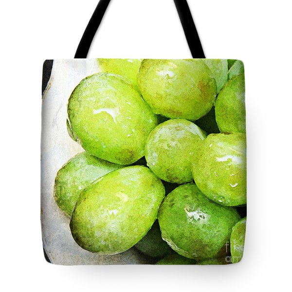 Green Grapes On A Plate Tote Bag by Andee Design