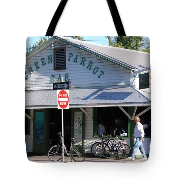 Green Parrot Bar In Key West Tote Bag by Susanne Van Hulst