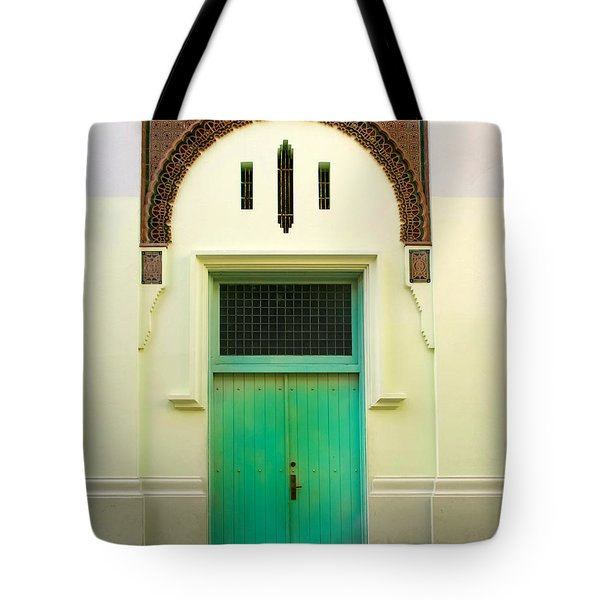 Green Spanish Doors Tote Bag by Perry Webster