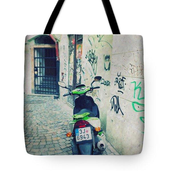 Green Vespa In Prague Tote Bag by Linda Woods