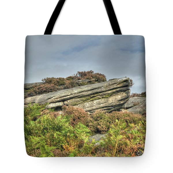 Gritstone Outcrop - Colour Tote Bag by Steev Stamford