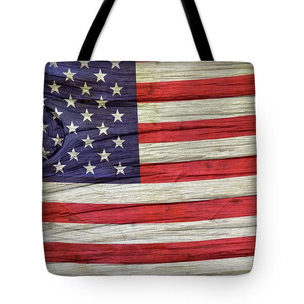 Grungy Textured Usa Flag Tote Bag by John Stephens