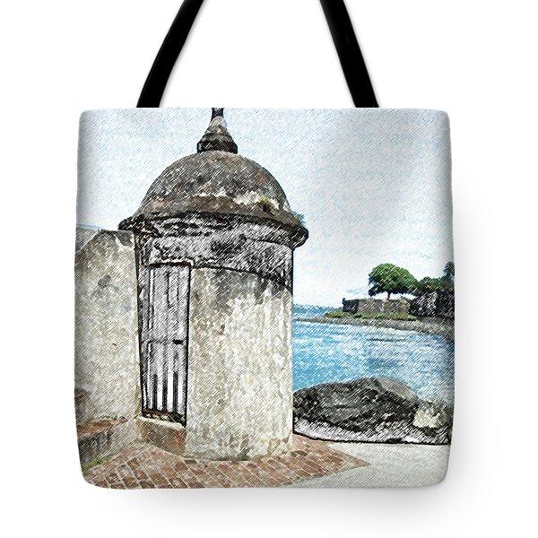 Guard Post Castillo San Felipe Del Morro San Juan Puerto Rico Colored Pencil Tote Bag by Shawn O'Brien