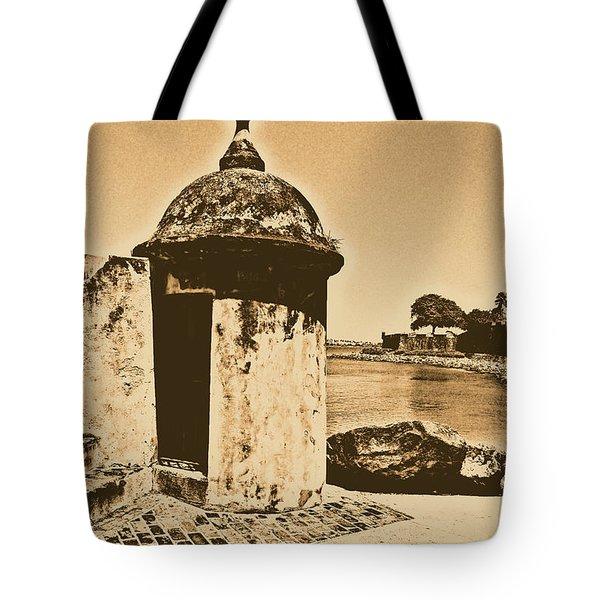 Guard Post Castillo San Felipe Del Morro San Juan Puerto Rico Rustic Tote Bag by Shawn O'Brien