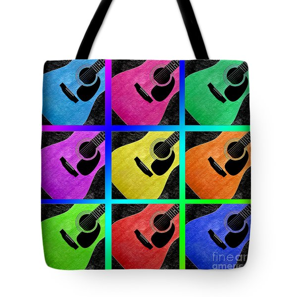 Guitar Tic Tac Toe Rainbow Tote Bag by Andee Design