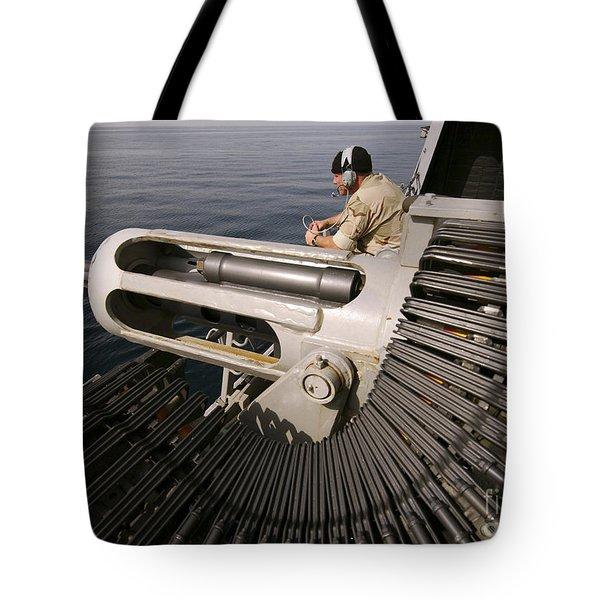 Gunner Manning A Mk-38 25mm Heavy Tote Bag by Stocktrek Images