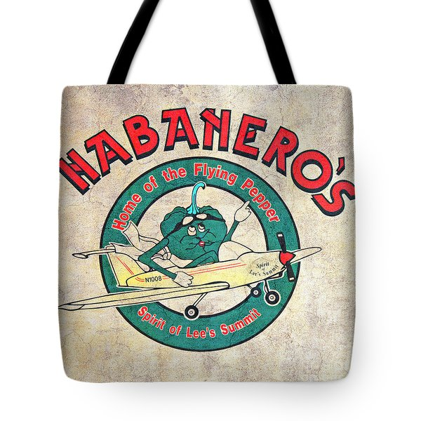 Habaneros Home Of The Flying Pepper Sign 3 Tote Bag by Andee Design
