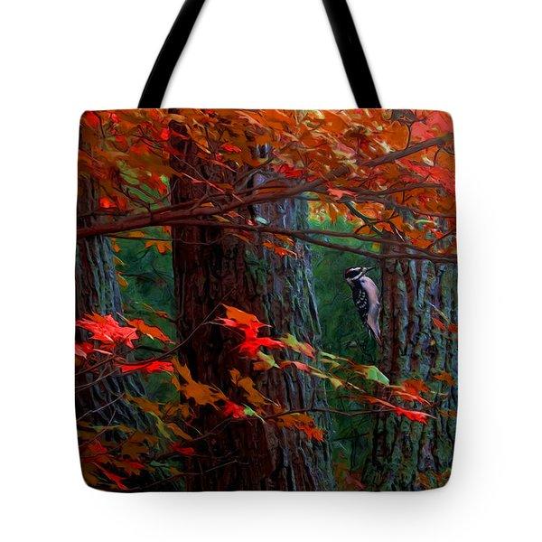 Hairy Woodpecker Tote Bag by Ron Jones