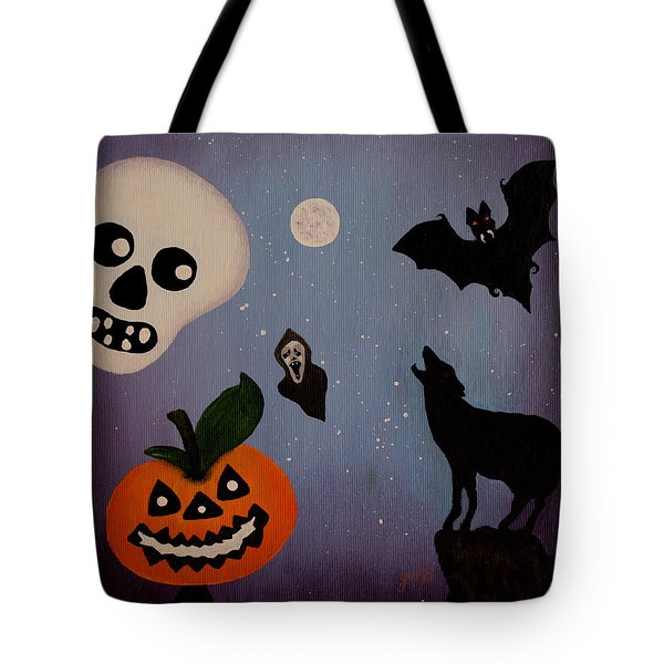Halloween Night Original Acrylic Painting Placemat Tote Bag by Georgeta  Blanaru