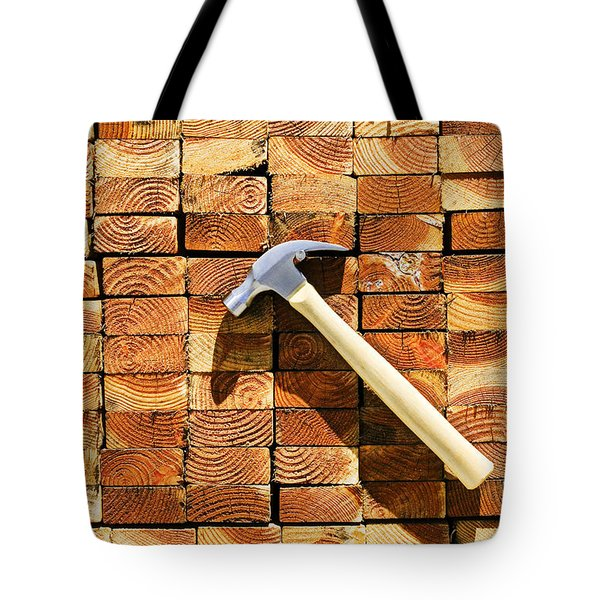 Hammer And Stack Of Lumber Tote Bag by Garry Gay