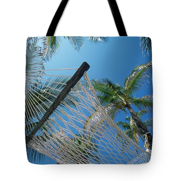 Hammock And Palm Tree, Great Barrier Tote Bag by Ron Watts