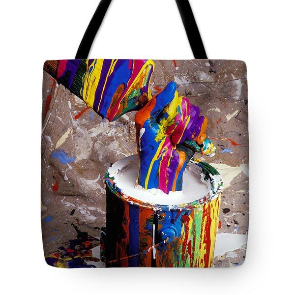 Hand Coming Out Of Paint Bucket Tote Bag by Garry Gay