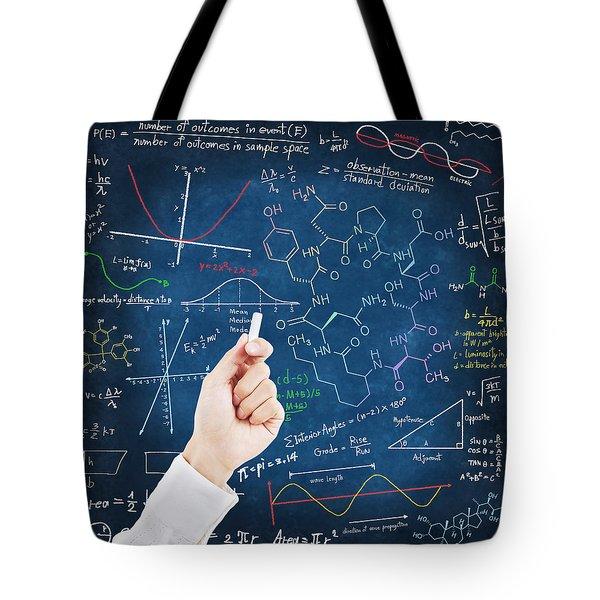 Hand writing science formulas Tote Bag by Setsiri Silapasuwanchai
