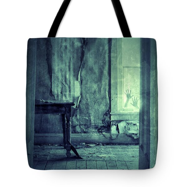 Hands On Window Of Creepy Old House Tote Bag by Jill Battaglia
