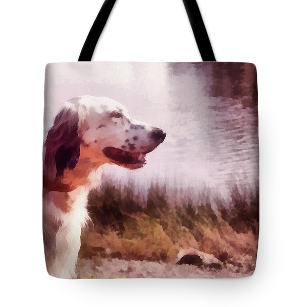 Handsome Hunter. English Setter Tote Bag by Jenny Rainbow