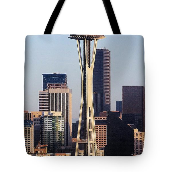 Happy 50th Space Needle Tote Bag by Benjamin Yeager