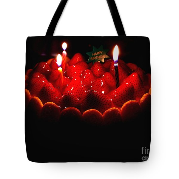 Happy Birthday Strawberry Charlotte Cake Tote Bag by Wingsdomain Art and Photography
