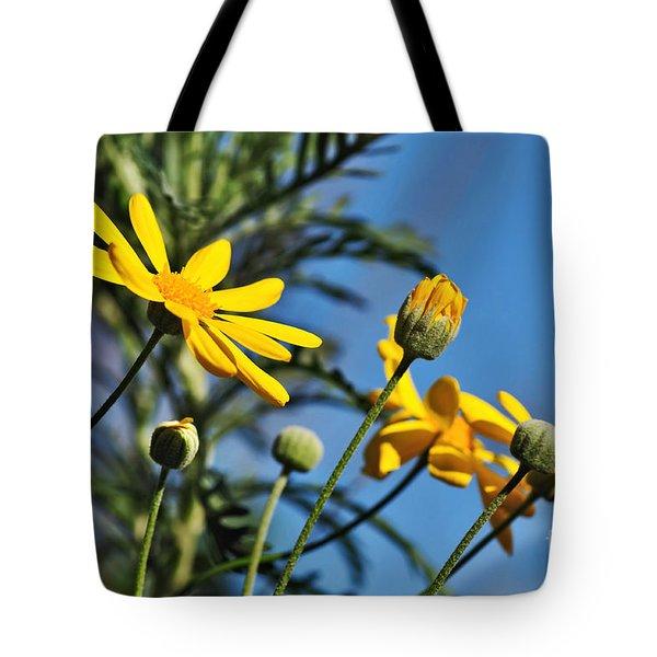 Happy Daisies Tote Bag by Kaye Menner