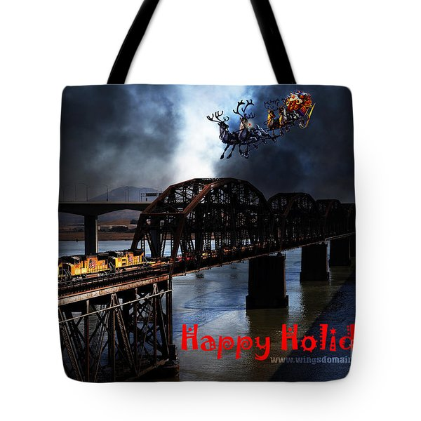 Happy Holidays - Once Upon A Time In The Story Book Town Of Benicia California - 5d18849 Tote Bag by Wingsdomain Art and Photography