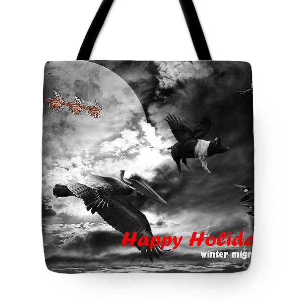 Happy Holidays . Winter Migration . bw Tote Bag by Wingsdomain Art and Photography
