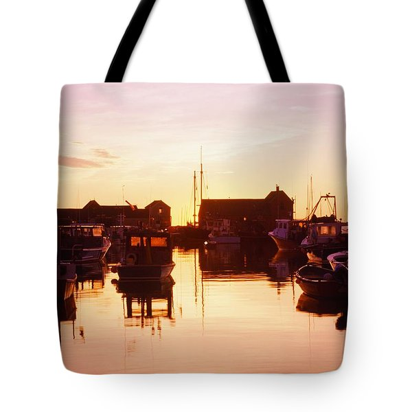 Harbor At Sunrise Tote Bag by Bilderbuch